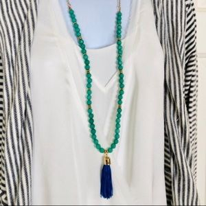 Jewelry - New Tasseled Turquoise Colored Bead Necklace